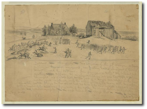 General Meade's army charges from the left on the 14th.  Not shown on the right:  The Army of Northern Virginia.  Library of Congress