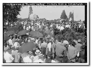"""My recent 40th high school reunion was nothing compared to this 40th reunion in 1913:  Those are some of General Pickett's men in the foreground, at """"Bloody Angle,"""" and those are the former US troops they faced up at the fence in the background.  Library of Congress"""