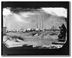 An unidentified camp on Morris Island in July or August, 1863.  Library of Congress.