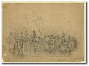 """""""The pursuit of Gen. Lee's rebel army. The heavy guns - 30 pounders - going to the front during a rain storm."""" E. Forbes"""