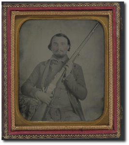 Third Lieutenant John Alphonso Beall, CSA, of Company D, 14th Texas Cavalry Regiment, with the single-shot, breech-loading Berdan Sharps rifle.  (Library of Congress)