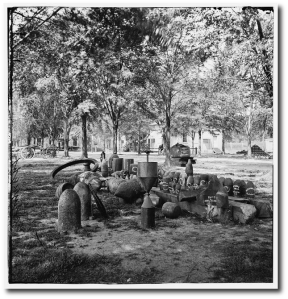Confederate torpedoes, shot, and shell in the Arsenal yard, Charleston, 1865.  (Library of Congress)