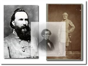 General Longstreet, President Davis and General Lee (Wikipedia [Longstreet] and Library of Congress)