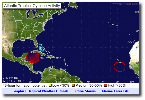 National Hurricane Center, as of August 14th, evening.