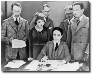 Griffith, Pickford, Chaplin and Fairbanks, at the United Artists contract signing (Library of Congress)
