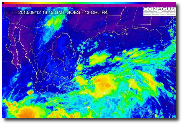 Note the darker orange colors (storm centers) in the waters on both sides of Mexico.  (Servicio Meteorológico Nacional)