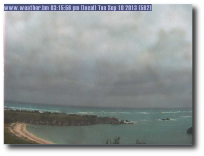 Tropical Storm Gabrielle darkens the skies of Bermuda, as see through the Bermuda Weather Service online webcam.