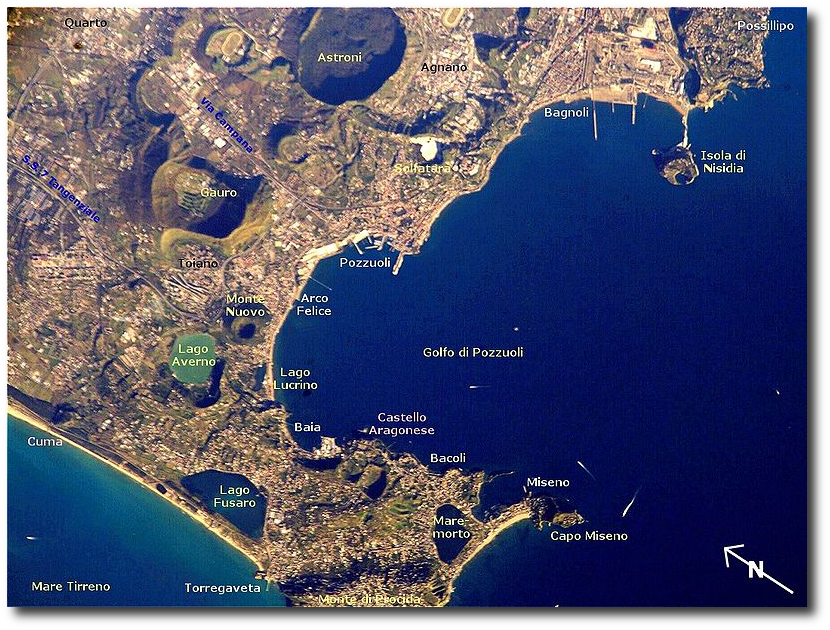 This is Campi Flegrei - everything you see here, including the Gulf of Pozzuoli.  (NASA, by way of Wikipedia)