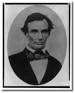 Lincoln in 1858 just before the final Lincoln-Douglas debate.  (Library of Congress)