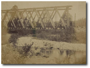 Railroad trestle bridge in 1862 or 1863.  (Library of Congress)