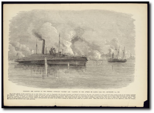 """Disabling and Capture of the Federal Gunboats 'Sachem' and 'Clifton' in the Attack on Sabine Pass, Texas, September 8th, 1863"" (Source)"