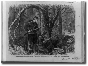 """The War in Tennessee--Union pickets approached by Rebels in cedar bushes near Chattanooga / from a sketch by our artist, C.E.F. Hillen."" (Library of Congress)"