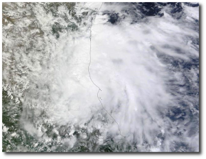 TD 8, the tropical system formerly known as Gabrielle, makes landfall in Mexico on September 6, 2013.  (NASA, by way of Wunderground)