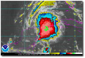 Current Funktop infrared imagery of 97L highlights the areas of greatest precipitation.  (GOES)