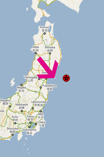The red dot is the quake's epicenter and the arrow points to Tashiro-Jima.  (Source)