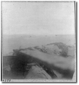 Fort Sumter under fire:  The first known Civil War combat photo taken with the photographer (a Confederate) actually under fire from US ironclads in the fall of 1863.  (Library of Congress)