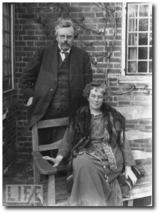 "G. K. and Frances Blogg Chesterton (via Wikipedia).  ""Variability is one of the virtues of a woman. It avoids the crude requirement of polygamy. So long as you have one good wife you are sure to have a spiritual harem."""