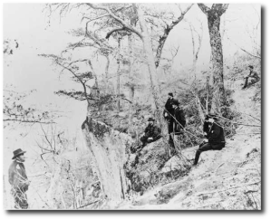 General Grant and five other men on Lookout Mountain in 1863.  (Library of Congress)