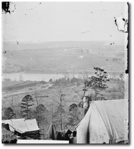Knoxville environs from the south bank of the Tennessee, December 1863.  East Tennessee University is in the middle distance.  (Library of Congress)