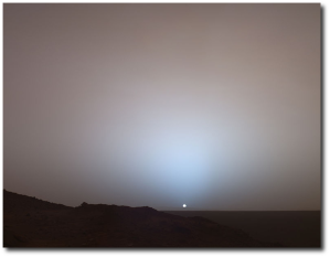 "Martian sunset imaged by the ""Spirit"" rover in 2005."