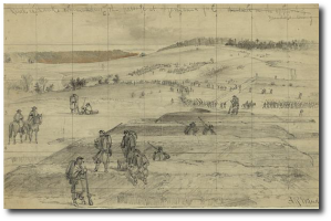 """  Rebel earthworks commanding the passage at Germanna ford, abandoned on the approach of Meade's army,"" A. R. Waud (Library of Congress)"