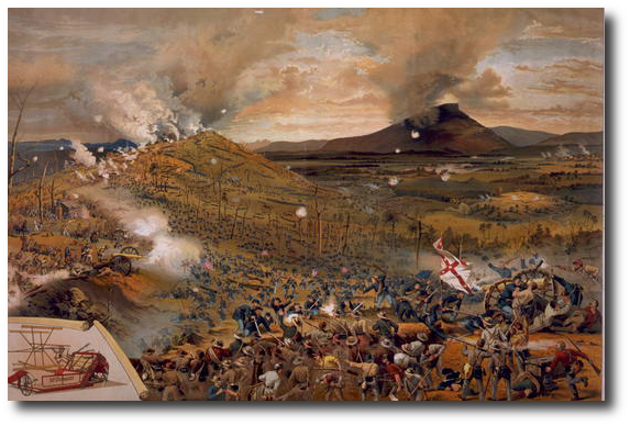 The Miracle - Missionary Ridge, November 25, 1863.  (Library of Congress - it's an ad, there wasn't a harvesting machine there)