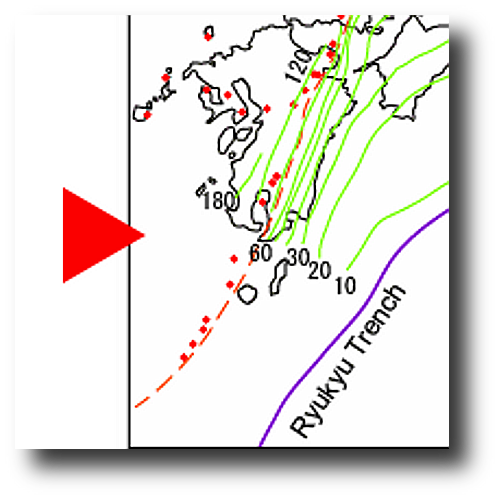 Big Red there is pointing at the Aira/Sakurajima area.  The green lines are estimated depths of the subducting plate.  Red marks are volcanoes and red lines are volcanic fronts.   (Source)