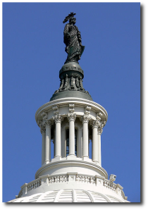 The Statue of Freedom was set atop the new US Capitol dome this week.