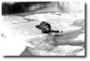 """""For the scene in which Anna faints on the ice floe, I thought of a piece of business and suggested it to Mr. Griffith, who agreed it was a fine idea. (I was always having bright ideas and suffering for them.) I suggested that my hand and my hair trail in the water as I lay on the floe that was drifting toward the falls. Mr. Griffith was delighted with the effect. """