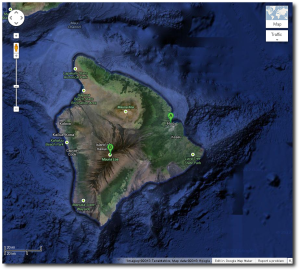 Here you see not only the distance from the summit to Hilo but also just how much of the volcanic structures of the Big Island are hidden underwater.