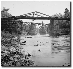 Railroad bridge across a creek in Knoxville area, 1864.  (Library of Congress)
