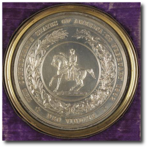 Medallion with the Great Seal of the Confederacy.  (Library of Congress)
