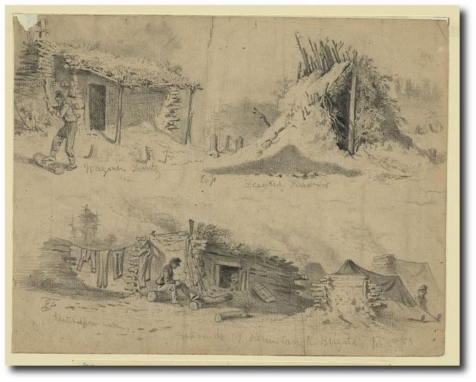 Edwin Forces documents soldiers' huts during winter.  (Library of Congress)
