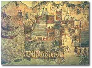 "The Akrotirians made a fresco of their home and called it ""The Right Town."" (Source)"