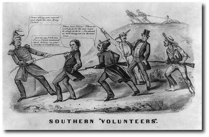 The division of Southerners over the draft made good fodder for Northern cartoonists.  (Source)