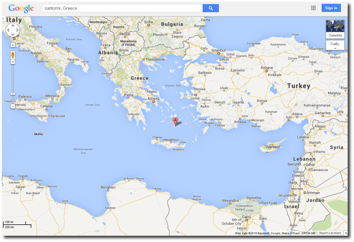 The Aegean Sea is to the right of Greece.  Crete is that long island in the southern Aegean - see Heraklion?  That's Crete.  The Google marker is pointing at the ring caldera island of Santorini/Thera, which really ruined Crete's day some 3600 years ago.