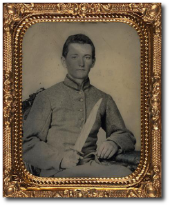 Unidentified CS artilleryman with Bowie knife.  (Library of Congress)