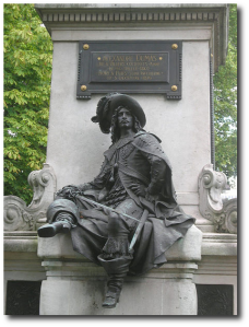 D'Artagnan guards the base of the statue they put up to Alexandre Dumas in Paris.  (Remi Jouan)