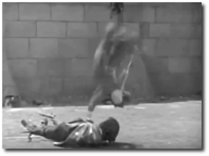 The toughest stunt Douglas Fairbanks (flying through the air in this screen cap) ever did in a movie.