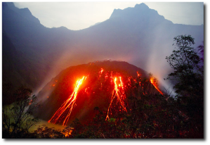 "Kelut's lava dome in 2007.  These form because volcanoes like Kelud and Sinabung have ""sticky"" lava, not ""runny"" like the lava in Hawaii.  (Image:  Volcano Discovery)"
