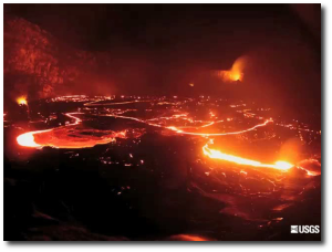 Sometimes one of the lava lakes at Kilauea looks like an electric city at night.