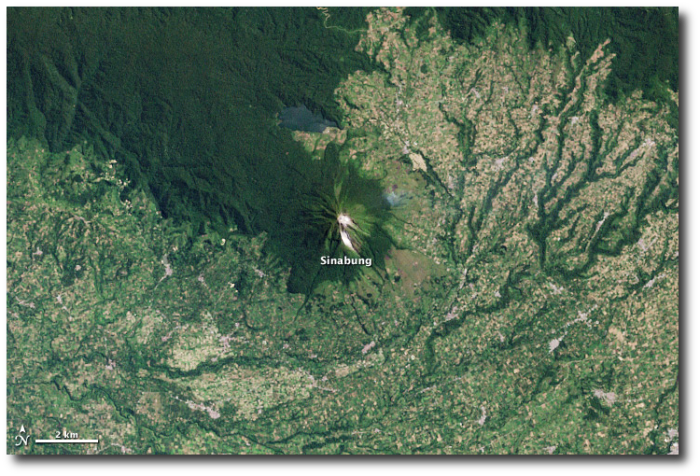 Villages encroach on Sinabung in 2003, during the volcano's long sleep.  (NASA - click to enlarge)