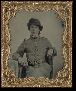 Unidentified CS cavalryman.  (Library of Congress)