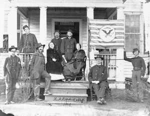 In Stevensburg, Virginia, US General H. Judson Kilpatrick did have time to pose with local ladies and his staff.  (Library of Congress)