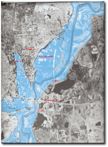 Sherman and his men, possibly traveling along the line of modern Route 80, were lucky the Pearl wasn't in flood just then.  (USGS)