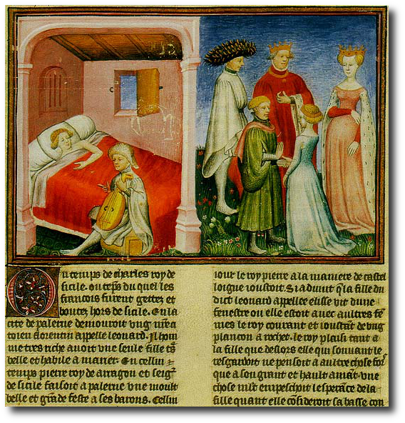 The introduction of the Decameron (1350–1353) by Giovanni Boccaccio.  (Wikipedia)