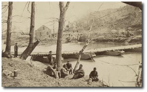 They probably built a pontoon bridge like this one US soldiers would construct in Virginia in March 1864.  (Library of Congress)