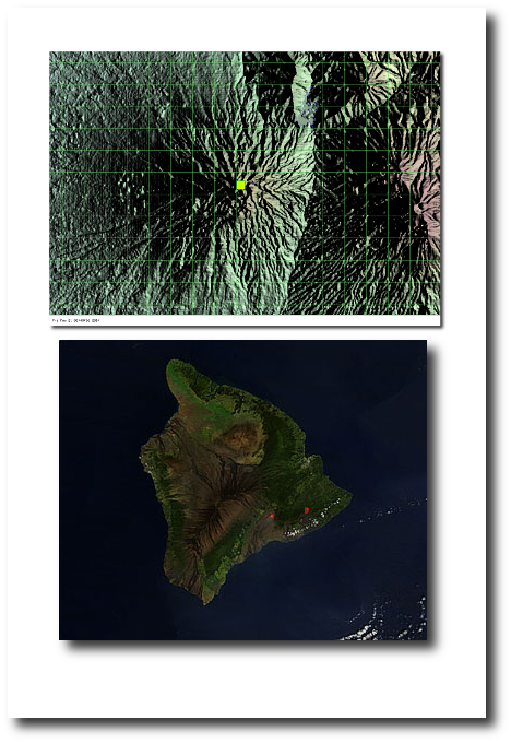 The MODIS hot spot for Kelud (top image) is cooler than the fiery red ones on the Big Island of Hawaii (Kilauea's summit is the one on the left, Pu'u O'o on the right).