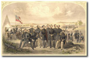 Jefferson Davis and his generals in 1861, (left to right) Leonidas Polk, John B. Magruder, Thomas J. Simmons, George N. Hollins, Benjamin McCulloch, Jefferson Davis, Robert E. Lee, P. G. T. Beauregard, Sterling Price, Joseph E. Johnston, and William J. Hardee.  (Smithsonian by way of here)