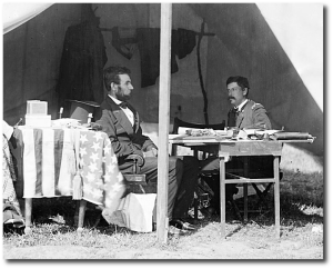 Lincoln and McClellan in October 1862.  Not exactly a love-fest, is it.